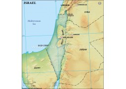 Israel Blank Map in Dark Green Background - Digital File