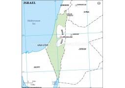 Israel Outline Map in Green Color - Digital File