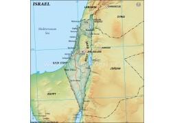 Israel Political Map, Dark Green  - Digital File