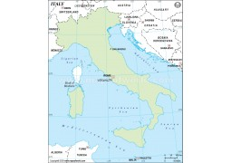 Italy Outline Map, Green  - Digital File