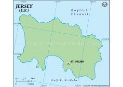 Jersey Outline Map in Green Color - Digital File