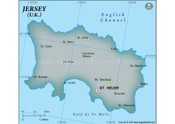 Jersey Physical Map with Cities in Gray Color - Digital File