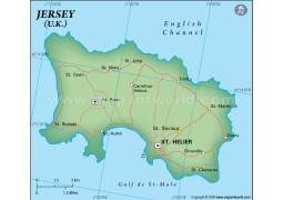 Jersey Political Map in Dark Green Color - Digital File