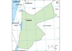 Jordan Outline Map in Green Color