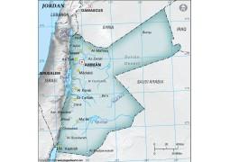 Jordan Physical Map, Gray