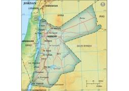 Jordan Political Map, Dark Green  - Digital File