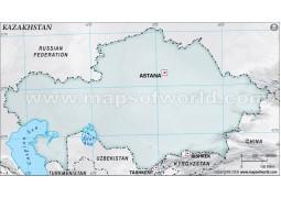 Kazakhstan Blank Map, Gray - Digital File