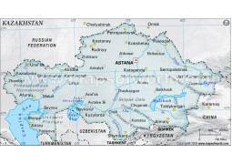 Kazakhstan Physical Map, Gray - Digital File