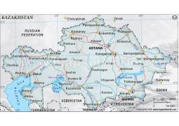 Kazakhstan Political Map, Gray - Digital File