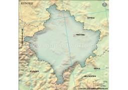 Kosovo Blank Map, Dark Green - Digital File