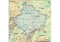 Kosovo Political Map, Dark Green Color - Digital File