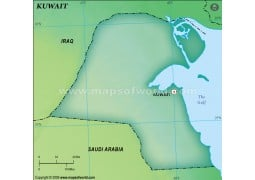 Kuwait Blank Map, Dark Green - Digital File