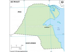 Kuwait Outline Map in Green Color - Digital File