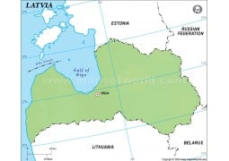 Latvia Outline Map in Green Color - Digital File