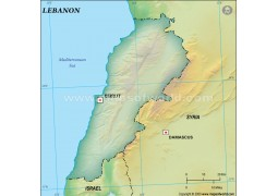 Lebanon Blank Map, Dark Green