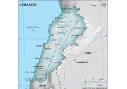 Lebanon Physical Map, Gray