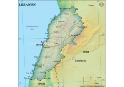 Lebanon Political Map, Dark Green