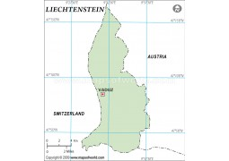 Liechtenstein Outline Map in Green Color - Digital File