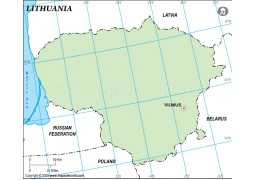 Lithuania Outline Map in Green Color