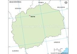 Macedonia Outline Map, Green - Digital File
