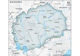 Macedonia Map, Gray Color - Digital File