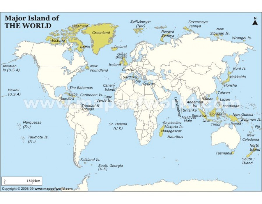 Buy major islands map How many countries and islands in the world