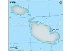Malta Blank Map, Gray