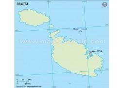 Malta Outline Map, Green
