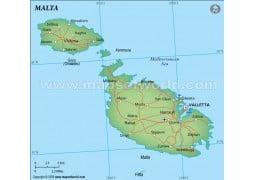 Malta Political Map, Dark Green