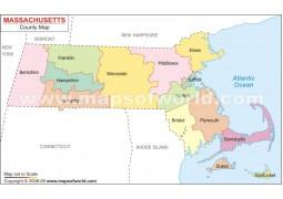 Massachusetts County Map - Digital File