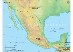 Mexico Blank Map, Green