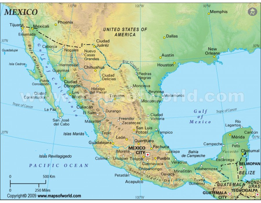 Buy Mexico Physical Map (Green Background)