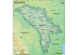 Moldova Political Map, Dark Green - Digital File