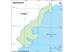 Monaco Outline Map, Green - Digital File
