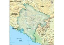 Montenegro Blank Map, Dark Green