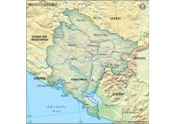 Montenegro Political Map, Dark Green