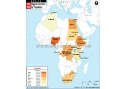Most Populated African Countries Map  - Digital File
