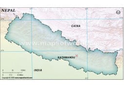 Nepal Blank Map, Dark Green  - Digital File