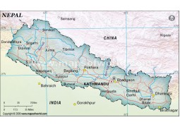 Nepal Political Map, Dark Green