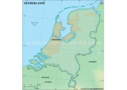 Netherlands Blank Map, Dark Green Color - Digital File
