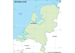 Netherlands Outline Map, Green Color - Digital File
