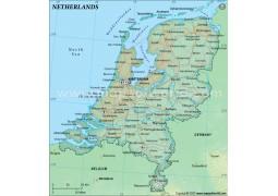 Netherlands Political Map in Dark Green Color - Digital File