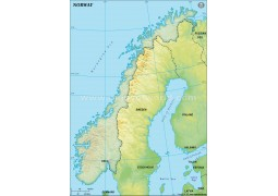 Norway Blank Map in Green Background