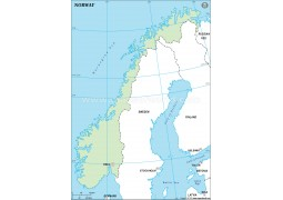 Norway Outline Map in Green Color - Digital File