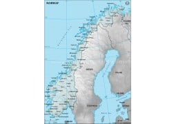 Norway Physical Map with Cities in Gray Background - Digital File