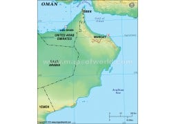 Oman Blank Map, Green
