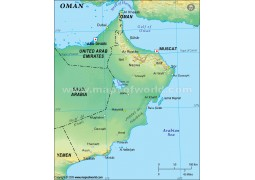 Oman Map in Green Color