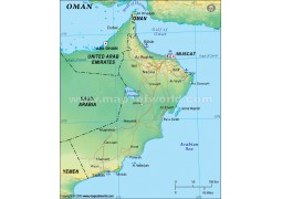 Oman Political Map, Green