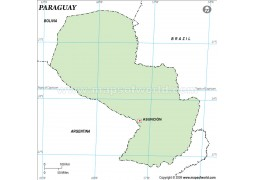 Paraguay Outline Map, Green - Digital File