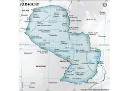Paraguay Physical Map, Gray - Digital File